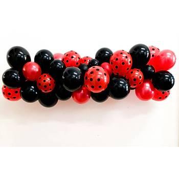 Kýrmýzý Siyah Balon Zinciri - 100 Adet Balon , 5 mt Zincir Aparatý ve Balon Pompasý