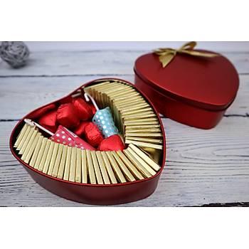 Kalpli Çikolata Kutusu  - En Tatlý Hediye - 62 Adet Çikolata