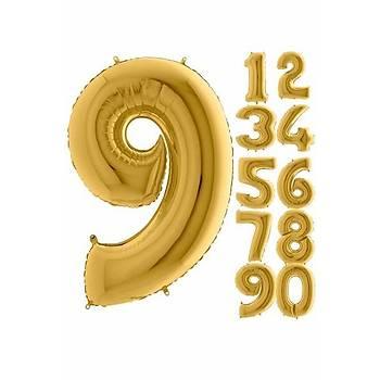 9 Rakam Gold Renk Folyo Balon 60cm