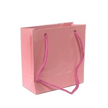 Küçük Pembe Karton Çanta 11-11 cm - 50 Adet
