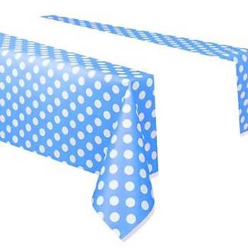 Mavi Puanlý Masa Örtüsü