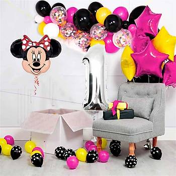 Minnie Mouse Balon Doðum Günü Seti 80 Balon ve Balon Zinciri Aparatý
