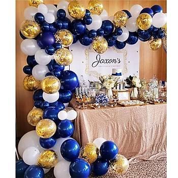 Lacivert Gold Balon Zinciri - 100 Adet Balon , 5 mt Zincir Aparatý ve Balon Pompasý