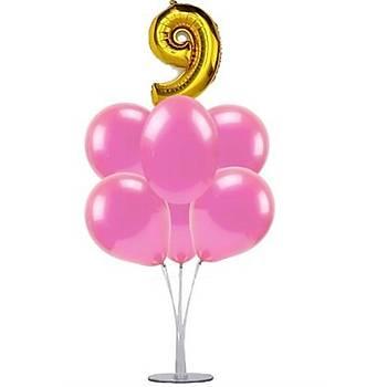 Pembe 9 Yaþ Balonlu Balon Standý - 1 Adet Stand ve 10 Adet Metalik Balon ve 50 cm Folyo Balon