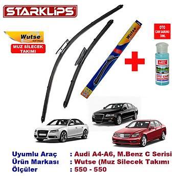 Audi A4-A6 Mercedes Benz C Serisi Silecek Seti 550-550 Wutse + Oto Cam Sabunu