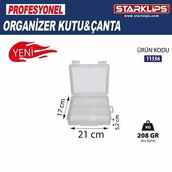 Plastik Bölmeli Çanta Organizer 3 lü (Þeffaf ) 21x17x5,2cm 2 Adet