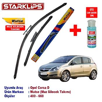 Opel Corsa D Silecek Seti 400-660 Wutse + Oto Cam Sabunu