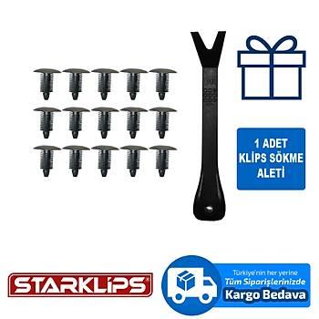 Universal Klips Siyah 10X22X22 Fiat 1301019808 + Klips Sökme Aparatý 15 Adet