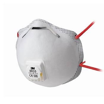 Toz Maskesi FFP3 Ventilli Konik  3M™ 8833(10 Adet Fiyatýdýr)