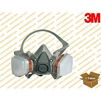 3M 6200 Yarým Yüz Maske  + 6051 A1 Filitre + 5911 P1 Filitre + K501 Kapak Set