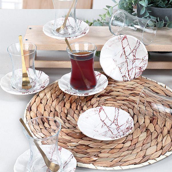 Kahverengi Mermer Cam Çay Takýmý 12 Parça 6 Kiþilik - 17802