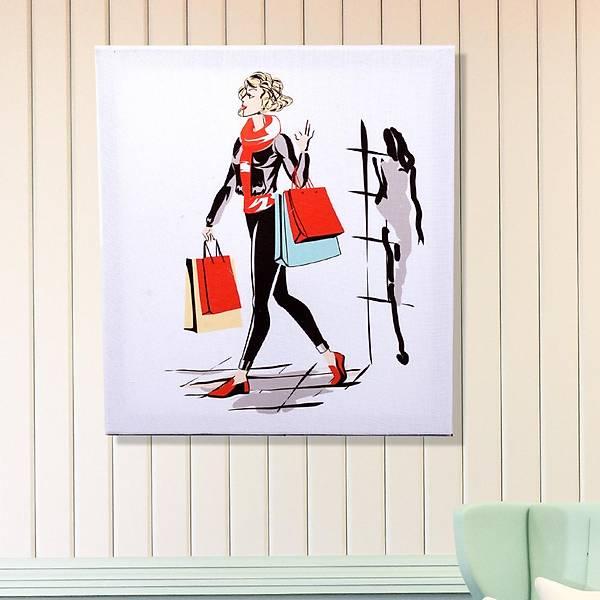 Havalý Kadýnlar Lady Shopping Kanvas Tablo 40 x 45 Cm
