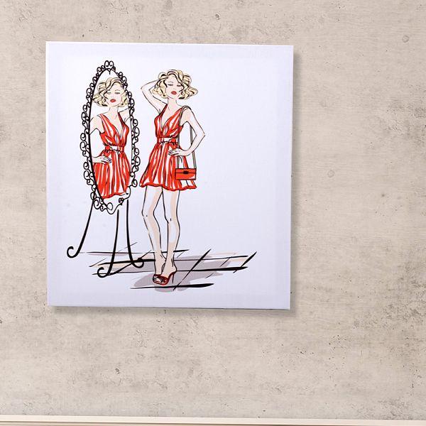 Havalý Kadýnlar Lady Mirror Kanvas Tablo 40 x 45 Cm
