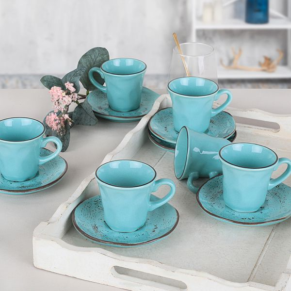 Splash Blue Kahve Fincan Takýmý 12 Parça 6 Kiþilik - 18993