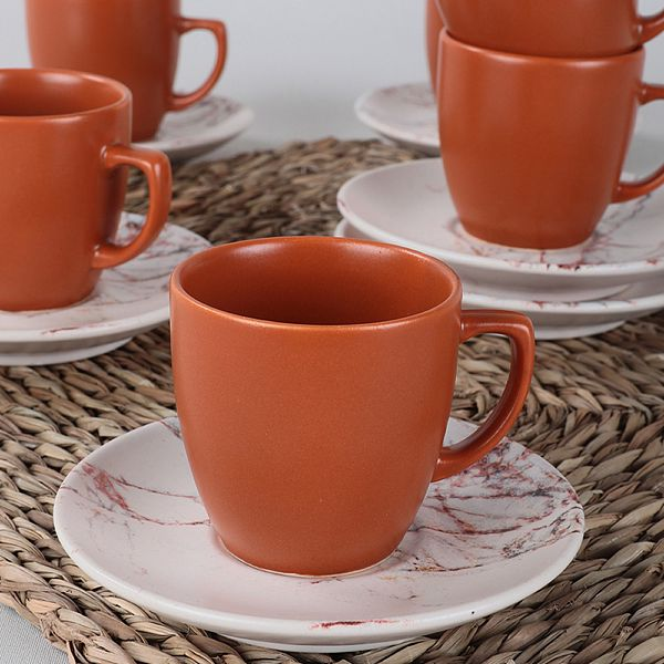 Kahverengi Mermer Kahve Takýmý 12 Parça 6 Kiþilik-17802