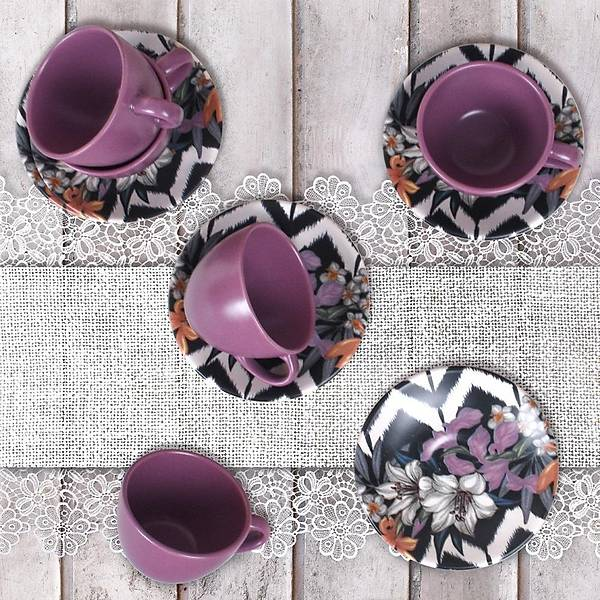 Purple Çay Fincan Takýmý 6 Kiþilik 12 Parça  - 17924
