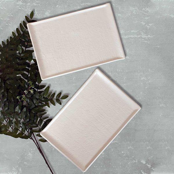 Mat Kırık Beyaz Doğaltaş Kayık Tabak 30 Cm 2 Adet