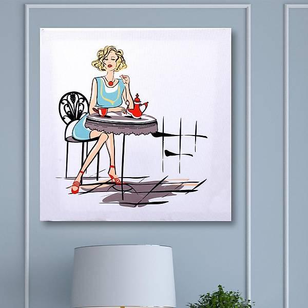 Havalý Kadýnlar Lady Coffee Kanvas Tablo 40 x 45 Cm
