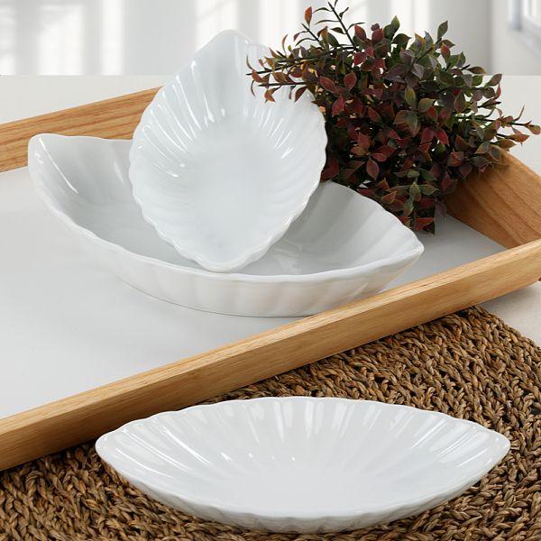 Beyaz Midye Kayýk Tabak 20-25-30 Cm 3 Adet