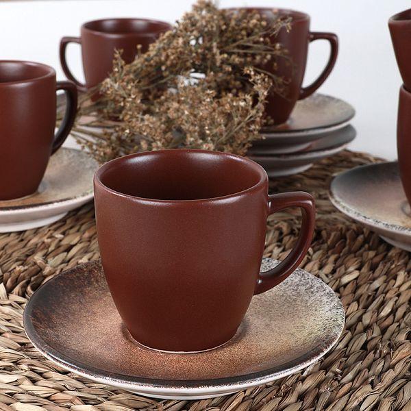 Kahverengi Taş Kahve Takımı 12 Parça 6 Kişilik - 18412