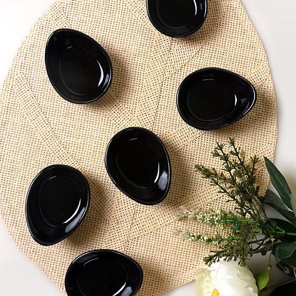 Mini Gondol Siyah Çerezlik / Sosluk 8 Cm 6 Adet