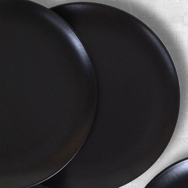 Mat Siyah Delta Pasta Tabağı 21 Cm 6 Adet