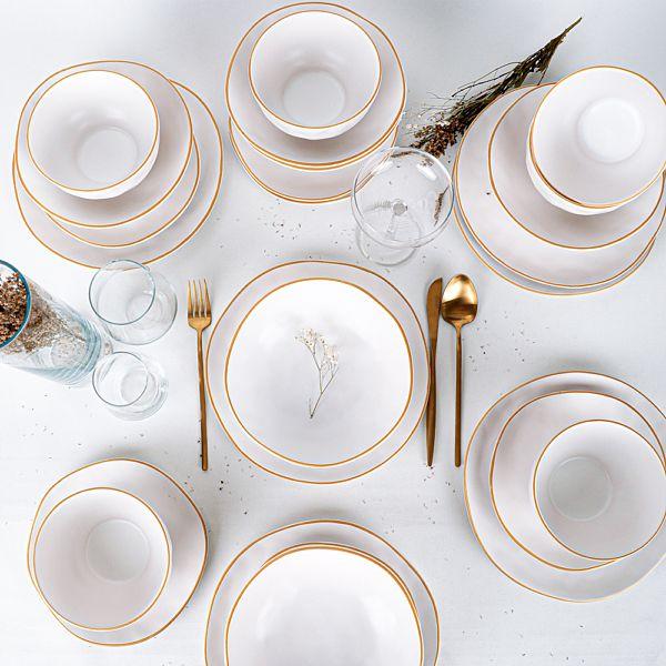 Organik Mat Beyaz Gold Yemek Takýmý 24 Parça 6 Kiþilik