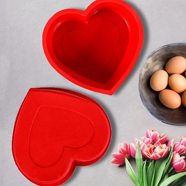 Kırmızı Silikon Kek Kalıbı Kalp - MYS 006