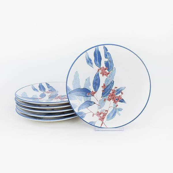 Blue Flowers Pasta Tabaðý 20 Cm 6 Adet - 19768