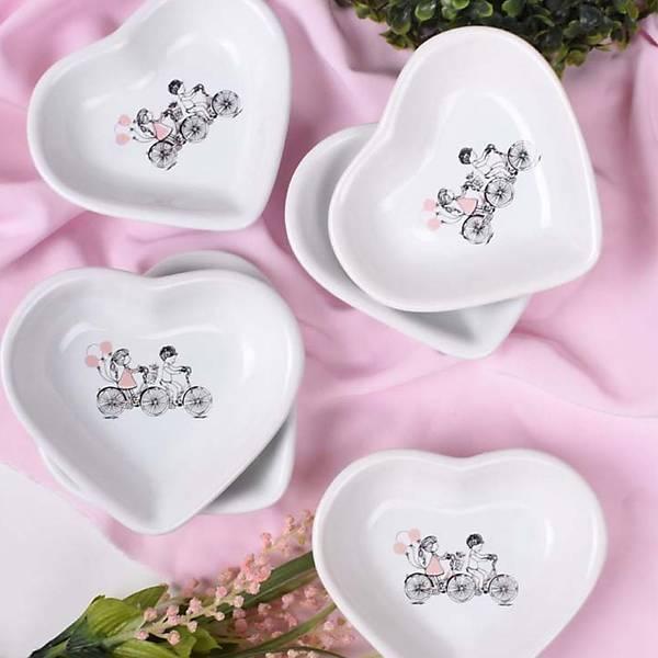 Pink Love Bisiklet Kalp Çerezlik 14 Cm 6 Adet