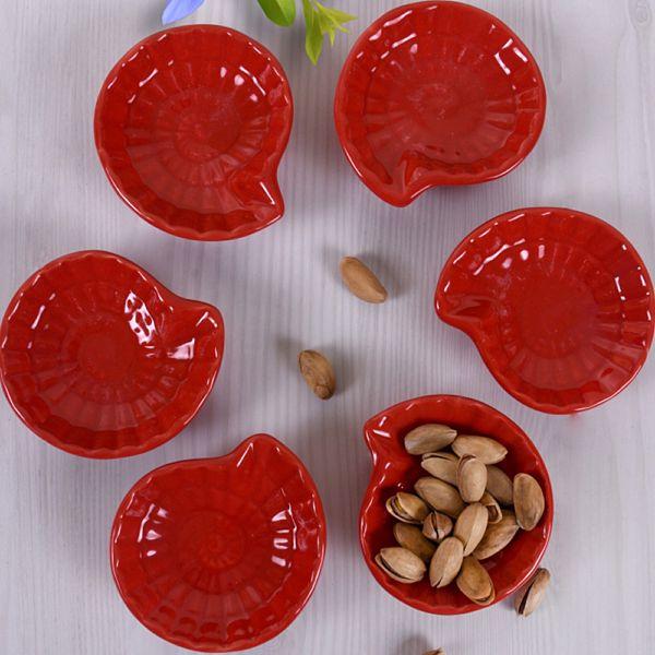 Kırmızı Mini Salyangoz Çerezlik/Sosluk 8 Cm 6 Adet