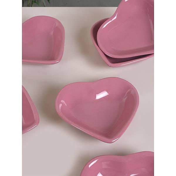 Gül Pembe Kalp Çerezlik/Sosluk 14 Cm 6 Adet