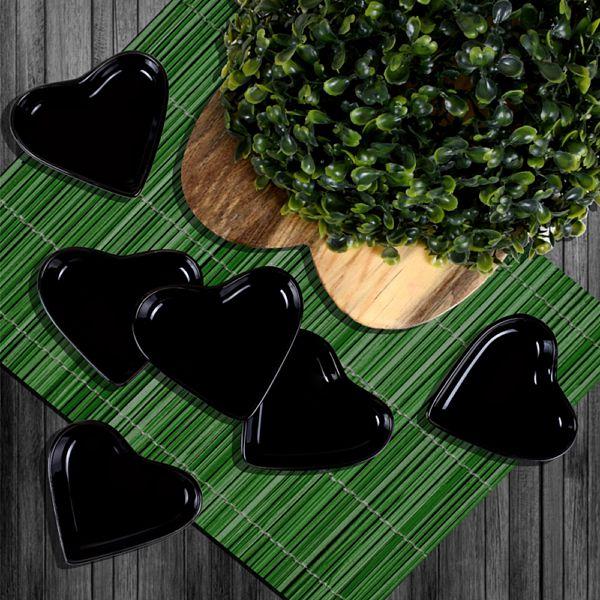 Siyah Kalp Çerezlik/Sosluk 9 Cm 6 Adet
