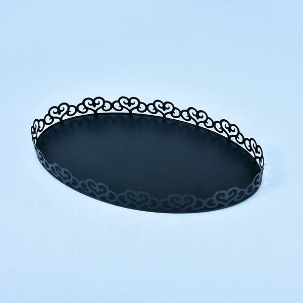 Oval Siyah Metal Tepsi