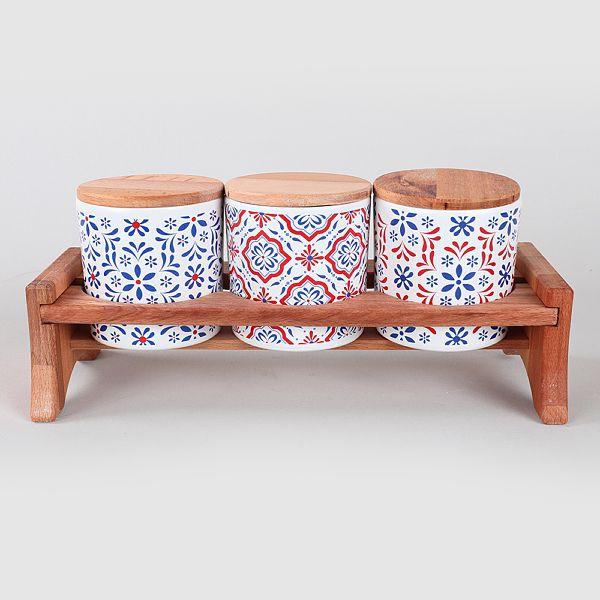 Pattern Ahþap Standlý Saklama Kabý 10 cm 7 Parça