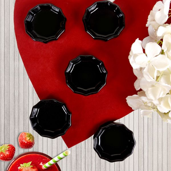 Siyah Mini Çark Çerezlik / Sosluk 8 Cm 6 Adet