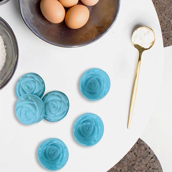 Mavi Silikon Muffin Gül 6 Adet - MYS 200