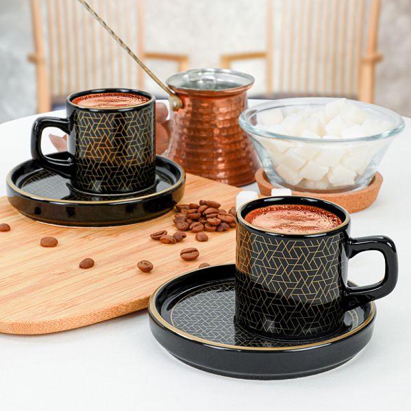 Dora Siyah Kahve Fincan Takýmý 4 Parça 2 Kiþilik