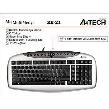 A4 Tech KB21 Kablolu Klayve Multimedia Siyah USB