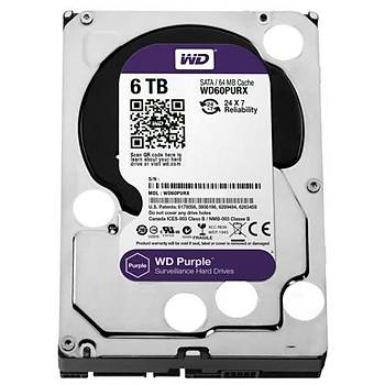 Western Digital 6TB Purple 3.5 64MB Sata3 7/24 Disk WD60PURX