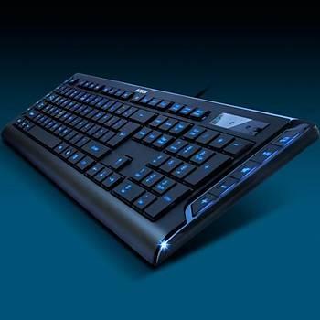 A4 Tech KD-600L Klavye Mavi Ledli USB Siyah