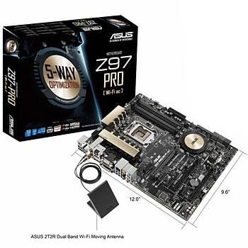 Asus Z97-Pro Wi-Fi 1600MHz DDR3 VGA 16X 1150p Anakart