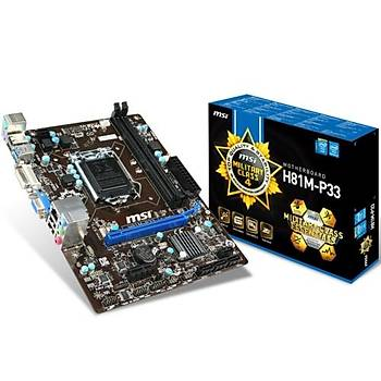 MSI H81M-P33 1600MHz DDR3 VGA 16X 1150p Anakart