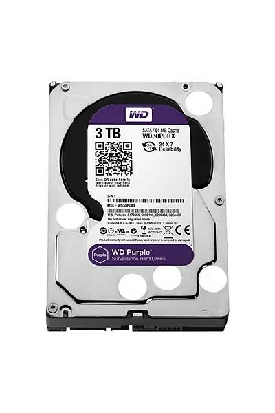Western Digital 3TB  Purple 3.5 64MB Sata3 7/24 Disk WD30PURX