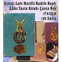 Kadife Kaplý Yasin kitabý Lale desenli isimli Çanta Boy 12x17 cm