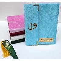 Kapaklý Kadife Yasin kitabý 216 sayfa Elif Vav lý Kapsamlý Çanta boy 13x17cm