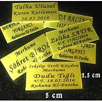 Aliminyum Sarý Metal Plaka Yazýlý Enaz 10 adet ve üzeri