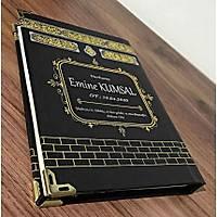 Kiþiye Özel isim baskýlý Yasin kitabý Ciltli Kabe Kapak Siyah 13x17cm128 sayfa