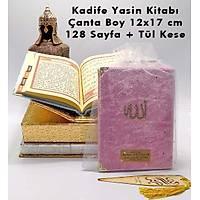 Kadife Kaplý Yasin kitabý PEMBE Kapak Allah Lafýzlý, isim Baskýlý