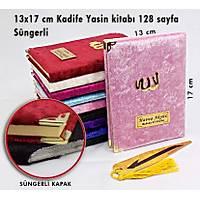 Süngerli Kadife Kaplý Yasin kitabý Çanta boy 128 sayfa